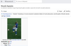 Hackerata la pagina di Nicolò Zaniolo sul portale wikipedia