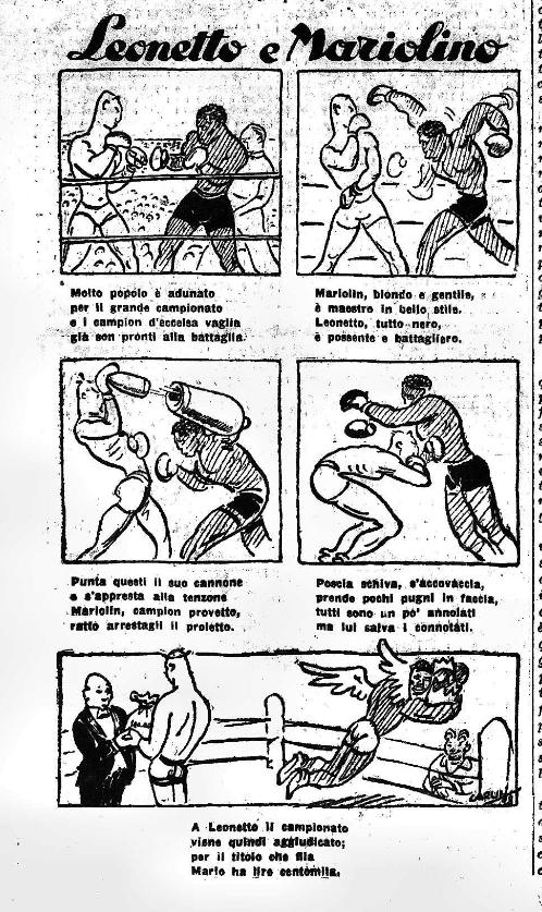 Il commento ironico del Guerin Sportivo, che all'epoca stava a Torino, sulla sfida Roma-Milano della boxe