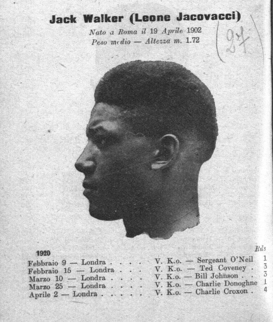 Da L'Annuario del Ring 1925, la presentazione di Jake Walker, il nome di battaglia di Jacovacci agli esordi della carriera.