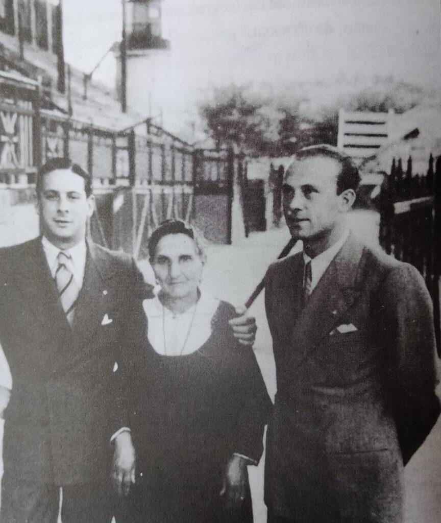 La sora Angelica con i giocatori Scopelli e Costatnino. Siamo nel 1935