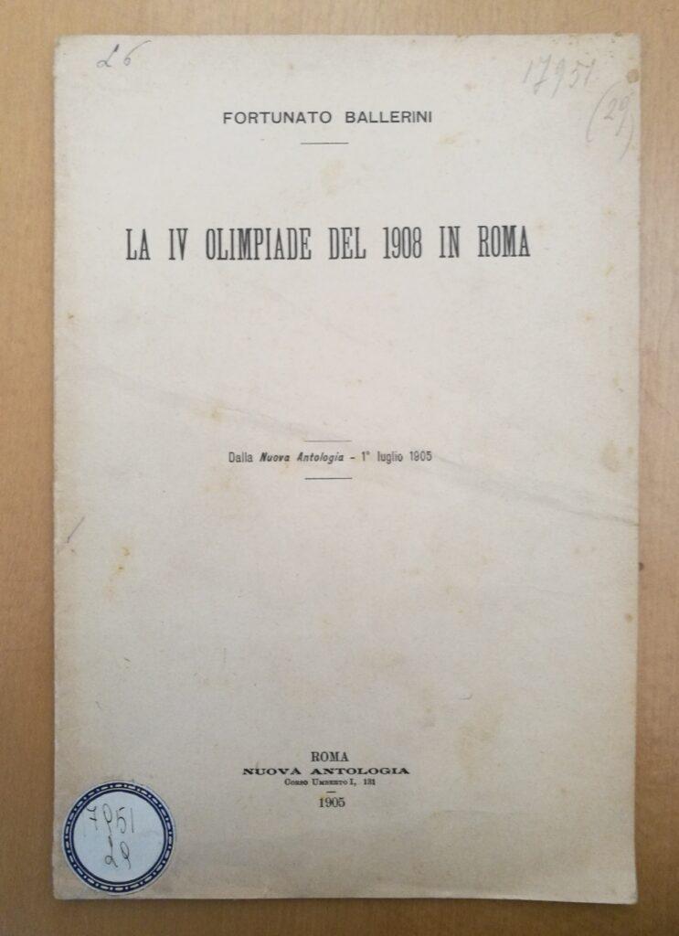 Il libello pubblicato per sostenere con solidi argomenti i Giochi Olimpici a Roma