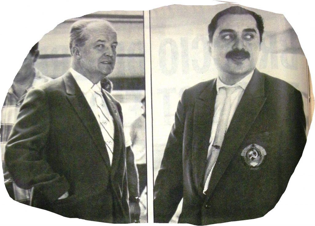 Due agenti del KGB: il capo-delegazione Nicolai Romanov e l'interprete ufficiale, di cui non si seppe mai il nome