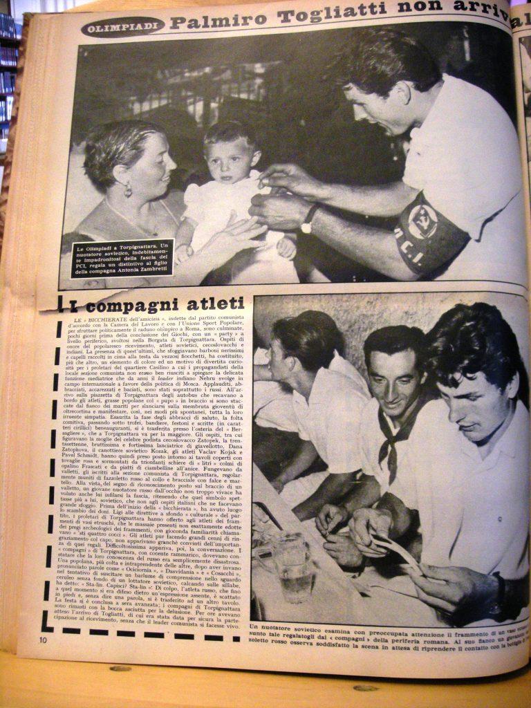 Propaganda sovietica con l'appoggio del PCI:  dal settimanale Lo Specchio, 18 settembre 1960
